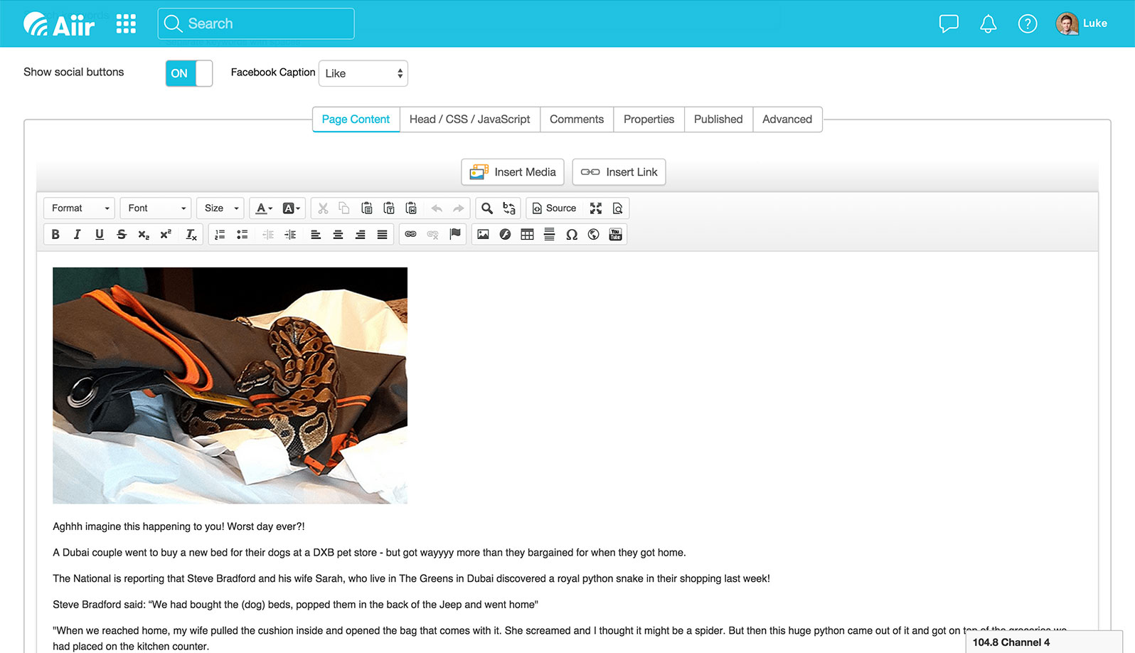 Screenshot of the Aiir CMS showing the article editor