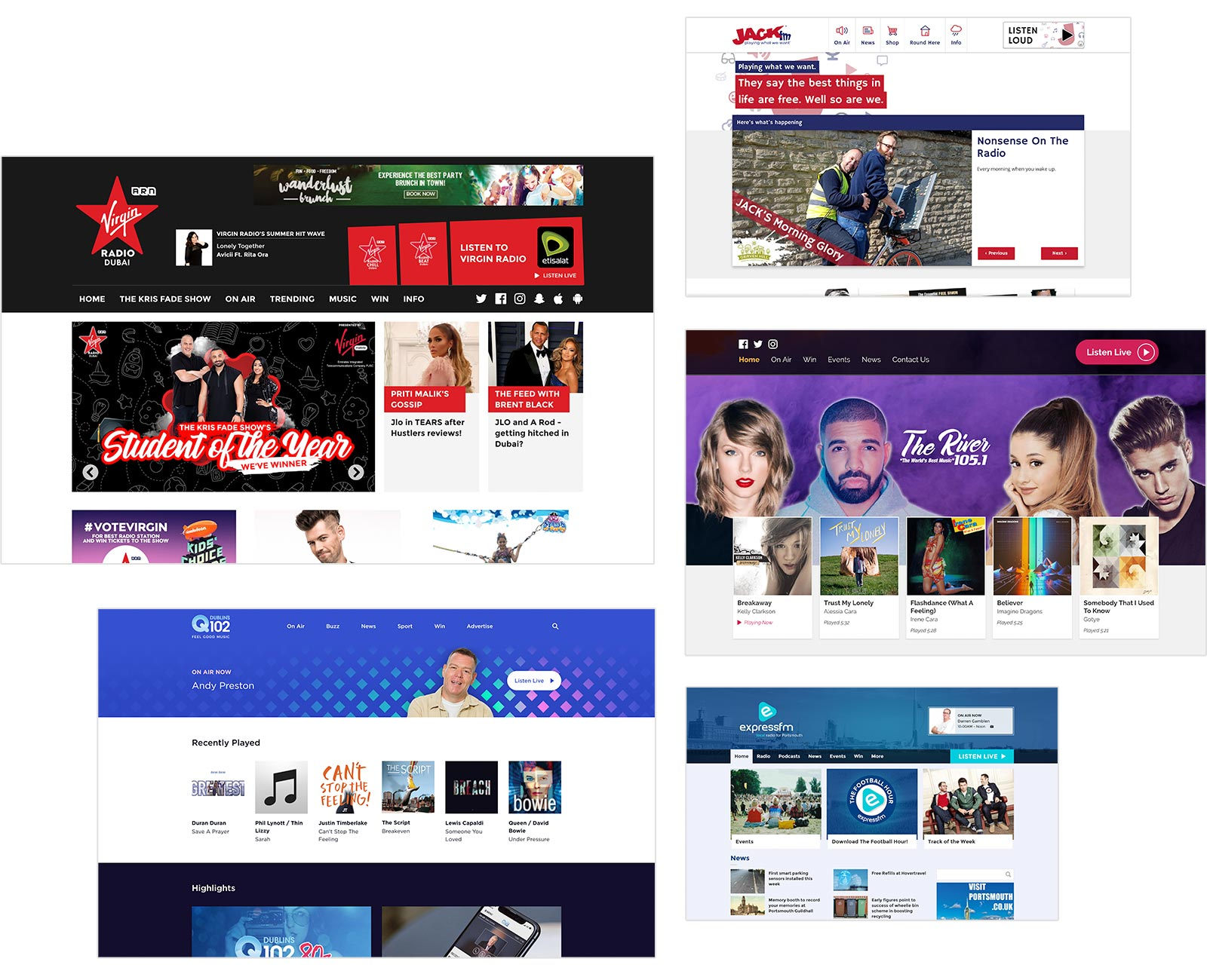 Previews of websites designed by Aiir